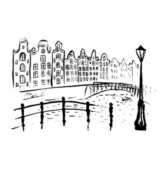 Amsterdam canals and houses vector