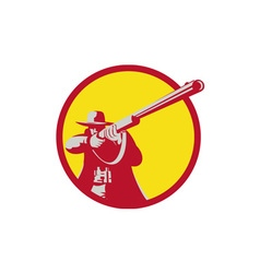 Hunter aiming shotgun rifle circle retro vector