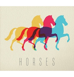 Colorful horse silhouette on paper background vector