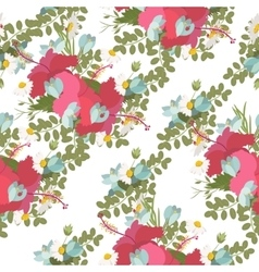 Pattern of tropical hibiscus flowers bunch vector