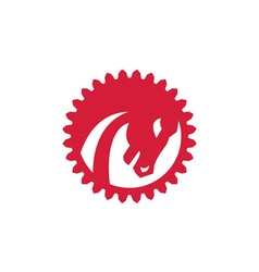 Angry horse head gear circle retro vector