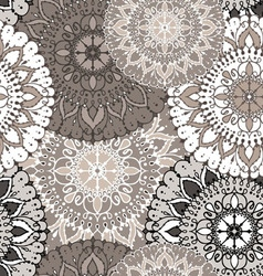 Seamless pattern with circular floral ornament vector