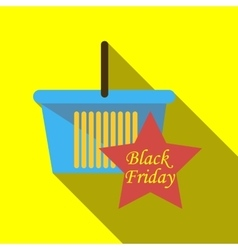 Basket for sale black friday icon flat style vector
