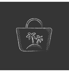 Beach bag drawn in chalk icon vector