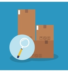 Box and lupe of delivery concept design vector
