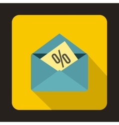 Card with percent sign in the envelope icon vector