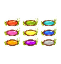 Cartoon long oval buttons set vector image vector image