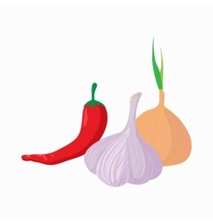 Chili pepper garlic and onion icon cartoon style vector