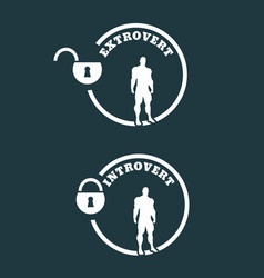 Extrovert and introvert metaphor icons vector