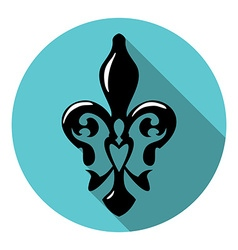 Fleur de lis symbol with long shadow French lily vector image