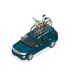 Isometric suv car with two bicycles mounted on the vector