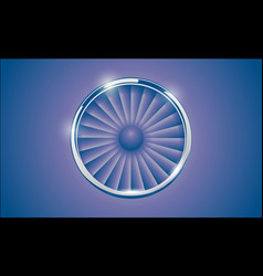 Jet engine turbine with chrome ring in retro vector