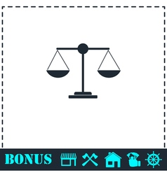Justice scale icon flat vector
