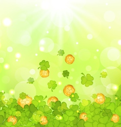 light background with clovers and coins for St vector image vector image