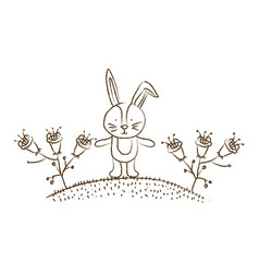 monochrome hand drawn silhouette of bunny in hill vector image vector image