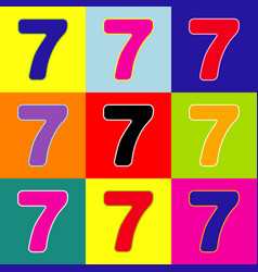 Number 7 sign design template element pop vector