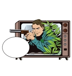 People in retro style the hunter in an ambush vector