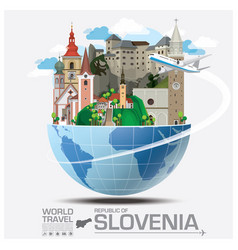 republic of slovenia landmark global travel and vector image