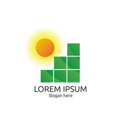 Sun and field logo abstract tile concept design vector