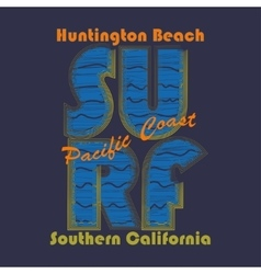 Surfing t-shirt graphic design Huntington Beach - vector image vector image
