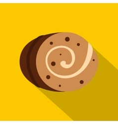 Sweet creamy roll icon flat style vector