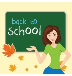 teacher in school classwith school board With text vector image vector image