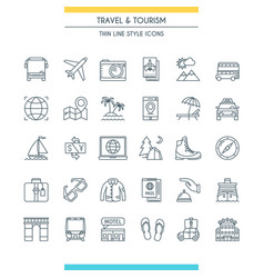 thin line design travel icons vector image vector image