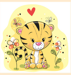 Tiger with flowers and butterflies vector