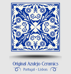 Vintage ceramic tile in azulejo design with blue vector