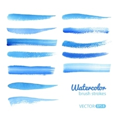 Watercolor blue brush stroke set vector