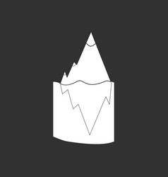 White icon on black background iceberg in water vector