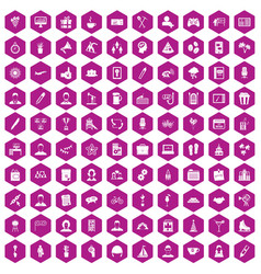 100 team building icons hexagon violet vector