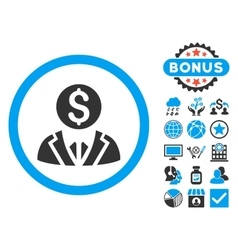 Banker flat icon with bonus vector