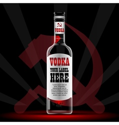 Vodka bottle mockup with your label here vector