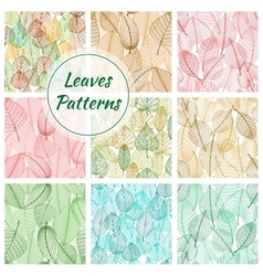 Textured stylized leaves patterns vector image