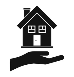 Hand holding house icon simple style vector