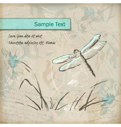 Vintage grunge sketch dragonfly greeting card vector
