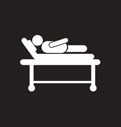 Stylish black and white icon patient in hospital vector