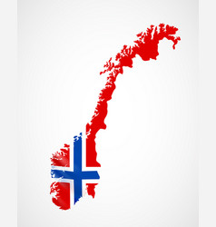Hanging norway flag in form of map kingdom of vector