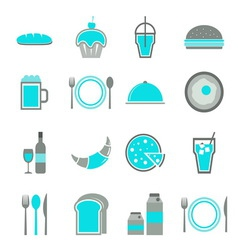 Food blue icons set on white background vector image