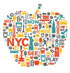 New York City icons and symbols vector image