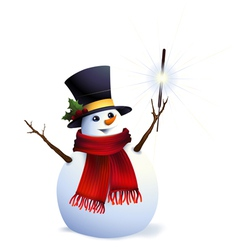 Snowman with christmas sparkler vector