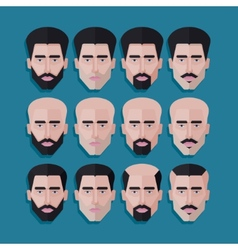 Set of male faces in flat polygonal style men hair vector