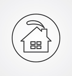 Cozy home outline symbol dark on white background vector
