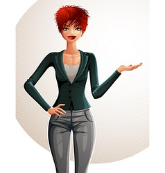 Beautiful caucasian businesswoman full-length vector