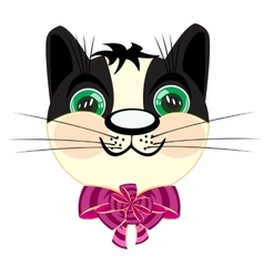 Head kitty with bow vector