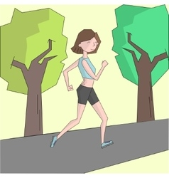 Girl run morning street color vector