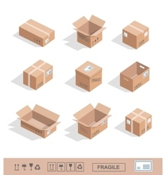 Delivery cardboard collection icons opened closed vector