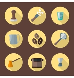 Coffee barista equipment icons vector