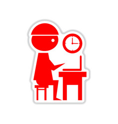 Paper sticker on white background office worker vector